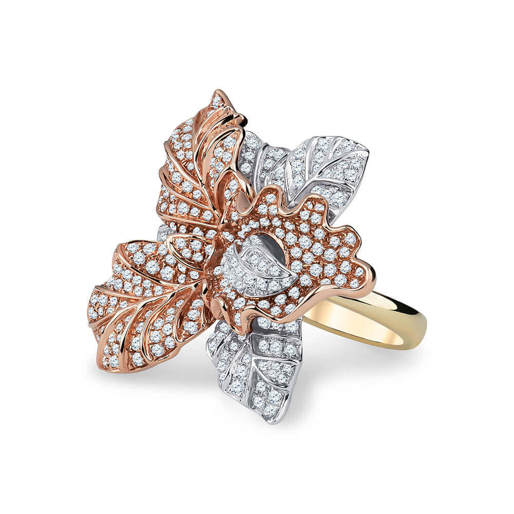 white and yellow gold fashion flower ring