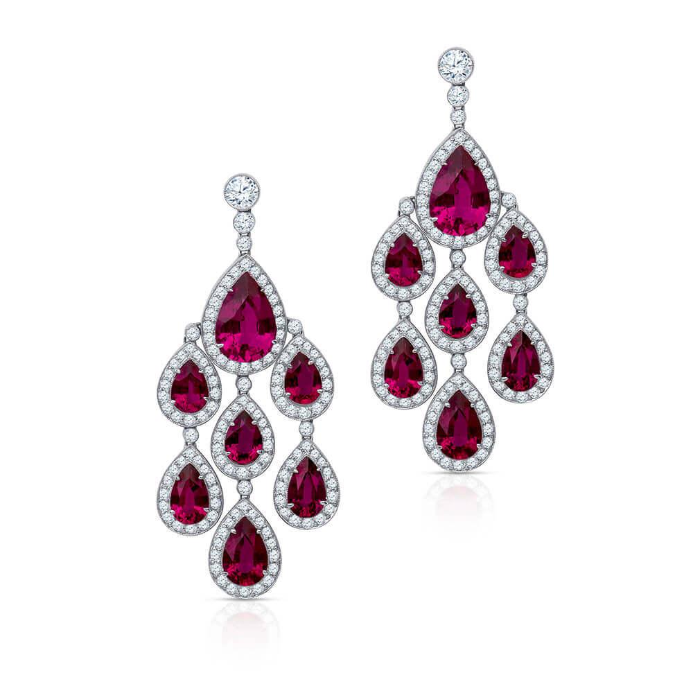 pear shape ruby diamond earrings