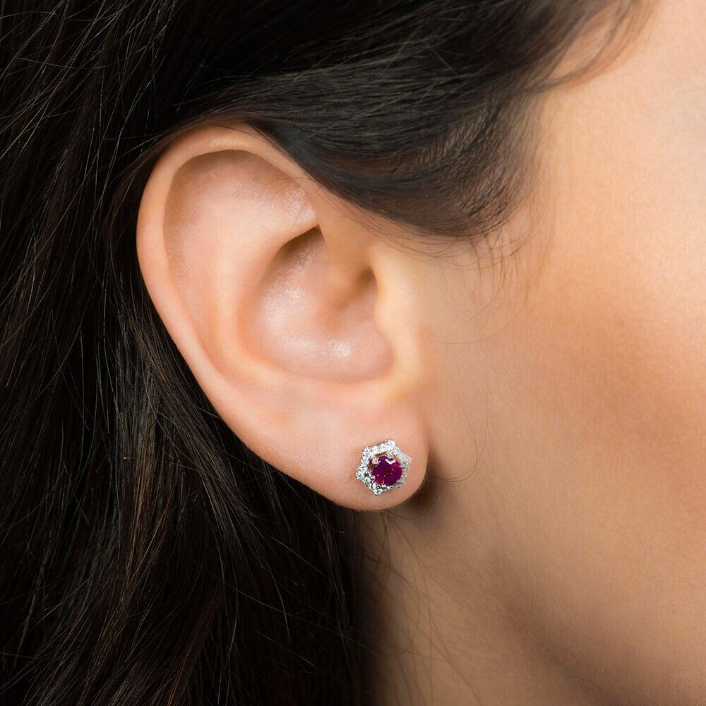 earring diamond and ruby