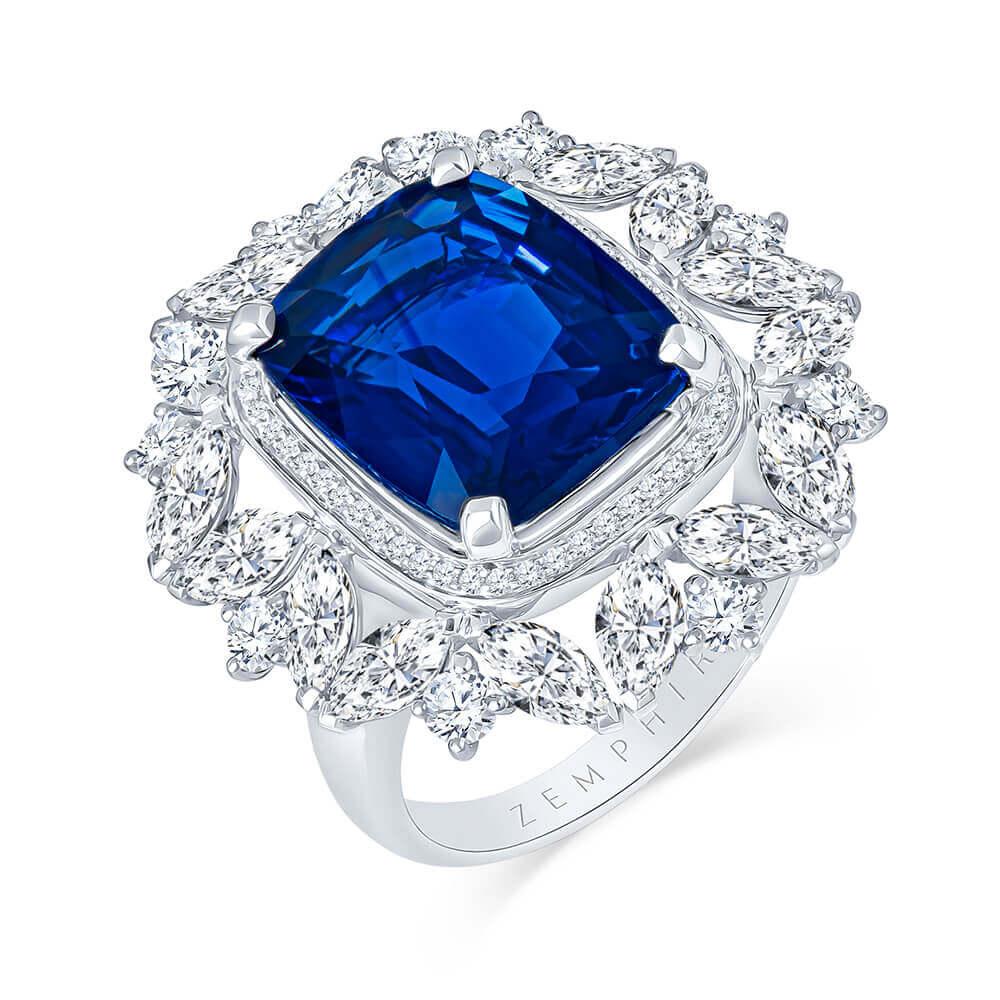 cushion cut sapphire diamond engagement ring