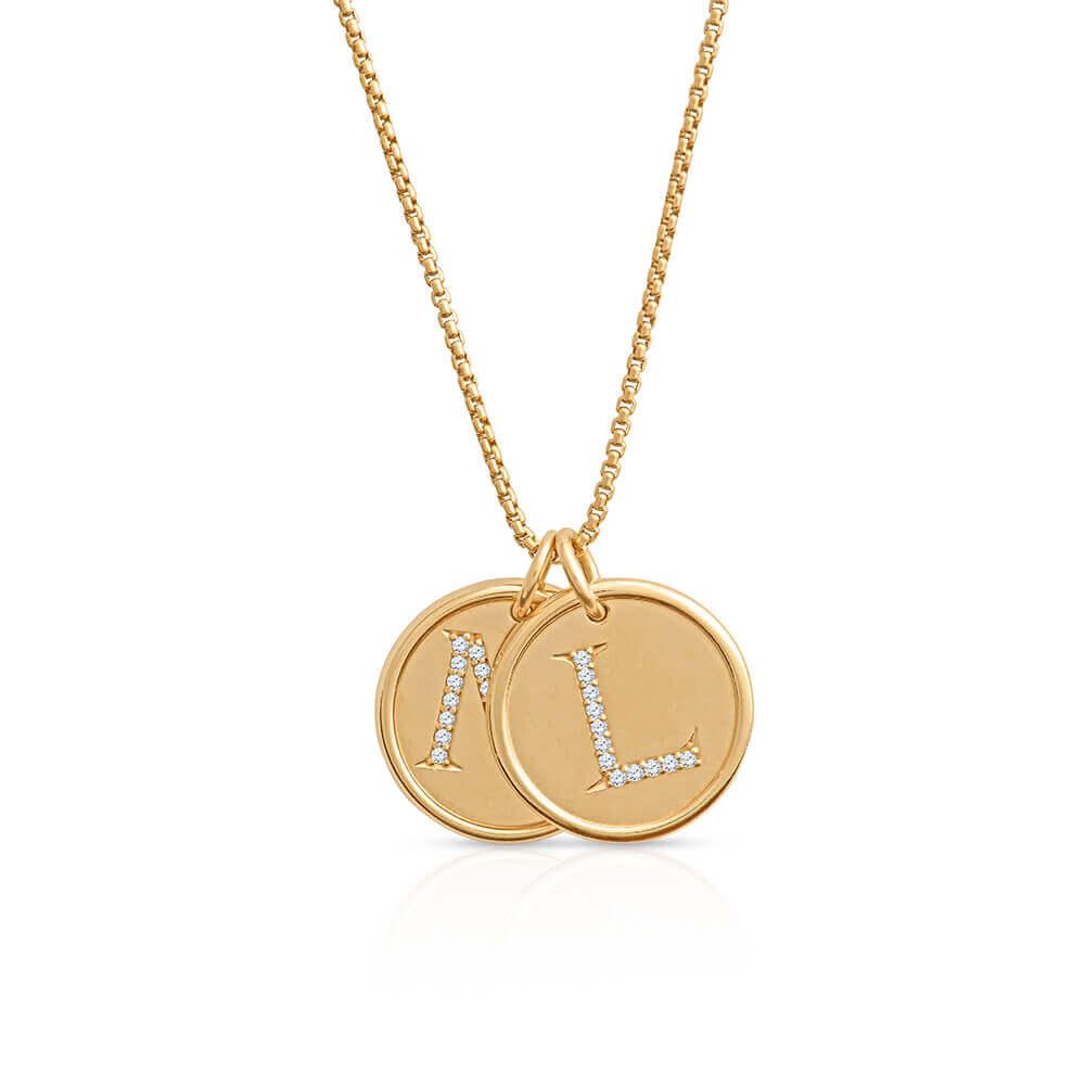 yellow gold diamond letters pendant