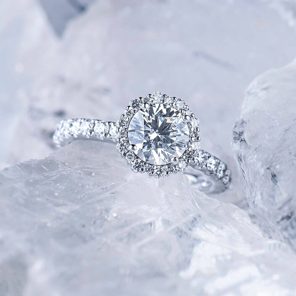 engagement ring on ice
