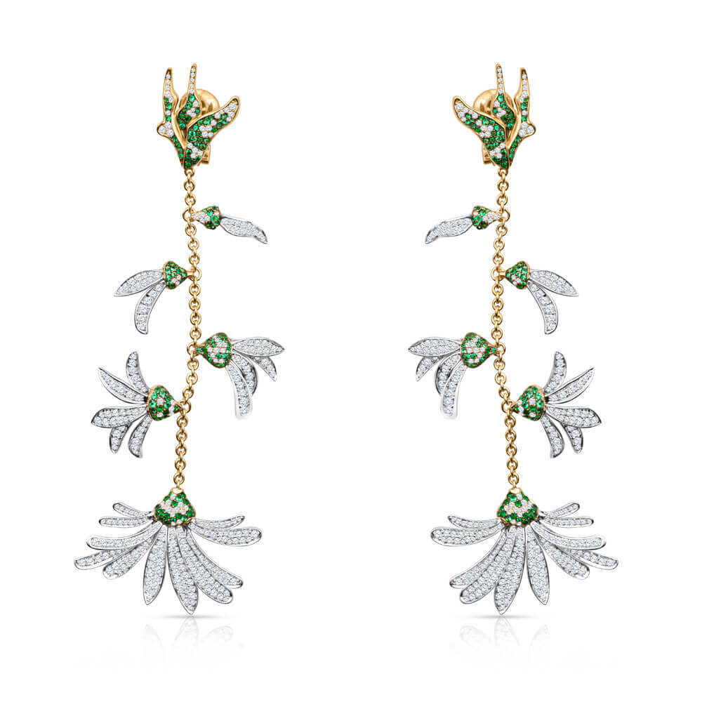 floral gold diamonds and gemstones earrings