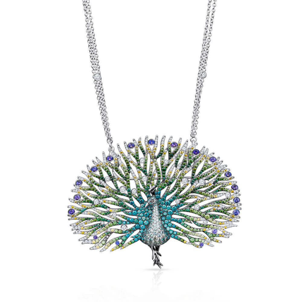 peacock gemstone and diamonds necklace