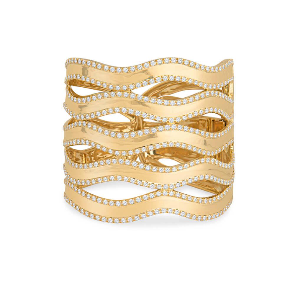 yellow gold and diamond band