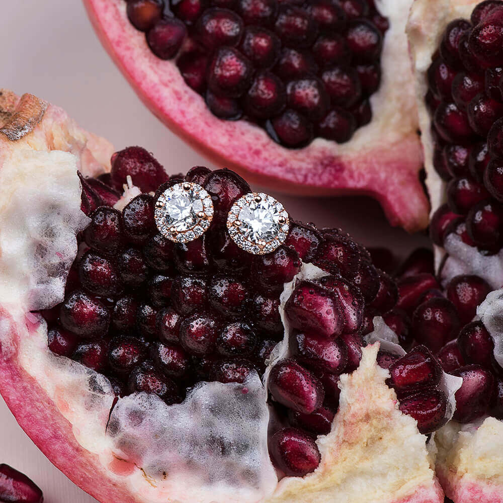 diamond studs on pomegranate