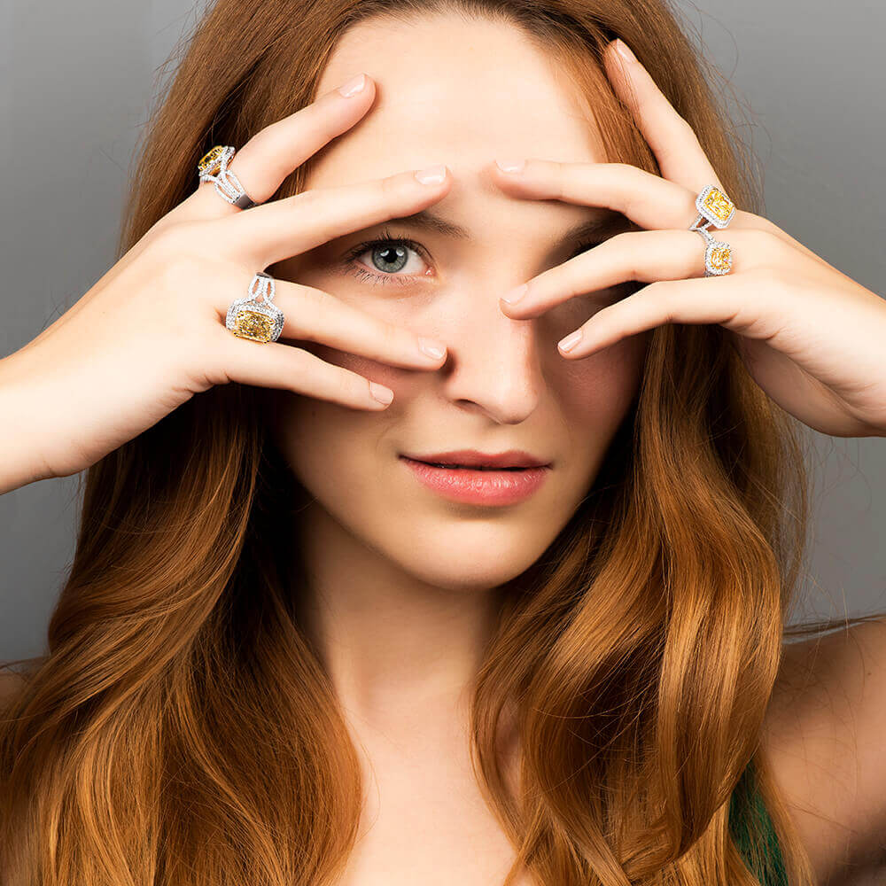 model wearing canary rings